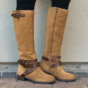 Tan Leather Buckle Ankle Lug Sole Knee High Boots